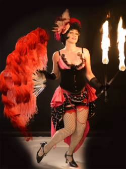 Fifi Bouffon fire show Sydney - feather fans, fishnets and fire!